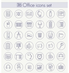 Office Outline icon set Thin line style vector image