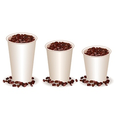 Three paper coffee cups filled with coffee beans vector
