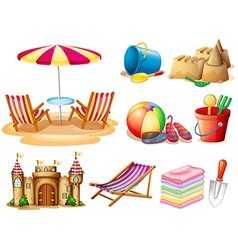 Beach set with seat and toys vector