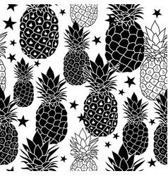 balck and white hand drawn pineapples vector image