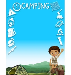 Border design with boy and camping site vector