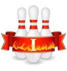 Bowling pins with ribbon vector image vector image