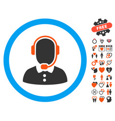 Call center operator icon with dating bonus vector