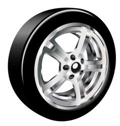 Car wheel with a tire vector