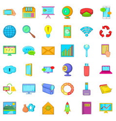 Computer data icons set cartoon style vector