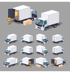 Cube world white truck vector