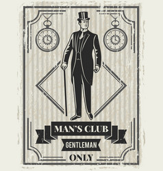 design template of retro poster for gentleman club vector image vector image