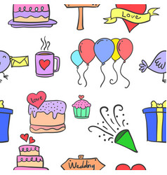Doodle of wedding object collection vector