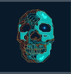 electronic skull vector image