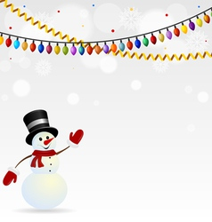 Festive snowman in hat with garlands vector