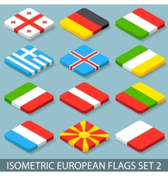 Flat isometric european flags set 2 vector