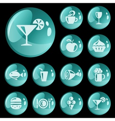 Food and drinks buttons vector