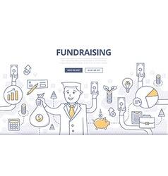 Fundraising Doodle Concept vector image vector image