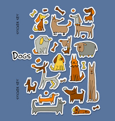 funny dogs stickers collection for your design vector image vector image
