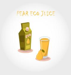 glass of bio fresh pear juice vector image