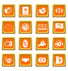 Global connections icons set orange vector