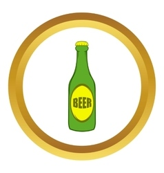 Green bottle of beer icon cartoon style vector