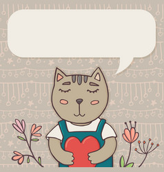 greeting card template with cat and place for text vector image vector image