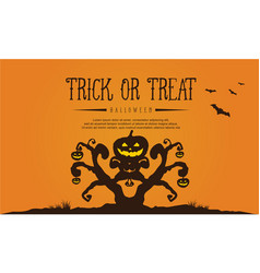 Halloween with tree and pumpkin greeting card vector