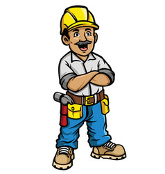 happy construction worker vector image