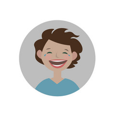 laughing emoticon burst out laughing expression vector image