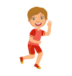 little boy running in a red shirt and shorts and vector image