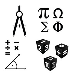 math icons set in black color vector image