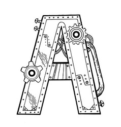 mechanical letter a engraving vector image