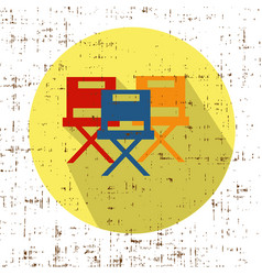 Movie chairs icon with screen grunge retro vector