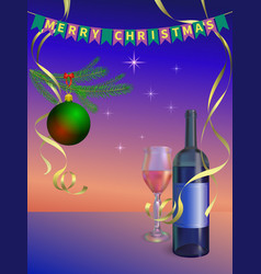 new year celebration wine vector image vector image