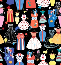 Pattern of fashionable dresses vector