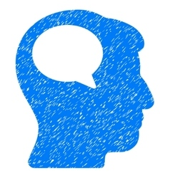 Person thinking grainy texture icon vector