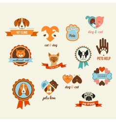 Pets icons - cats and dogs elements vector image vector image