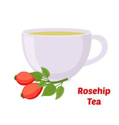 Rosehip briar tea cup cartoon flat style vector