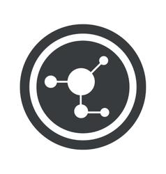 Round black molecule sign vector