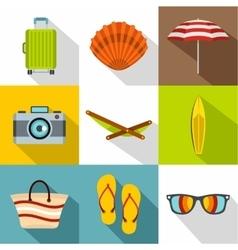 Sandy beach icons set flat style vector