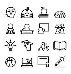 school icon set line vector image vector image