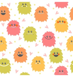 Seamless pattern with cartoon smiley monsters vector