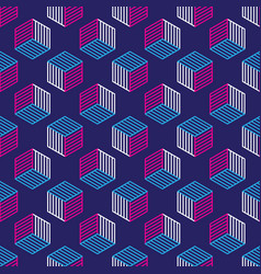 Seamless pattern with line style isometric cubes vector