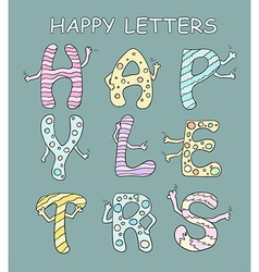 Set of bright cartoon letters with hands on a vector image