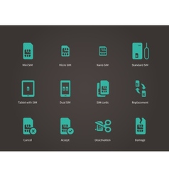 Set of mini micro and nano simcard icons set vector image vector image
