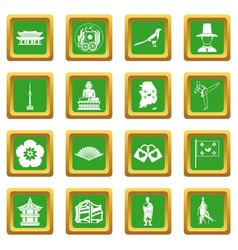 South korea icons set green vector