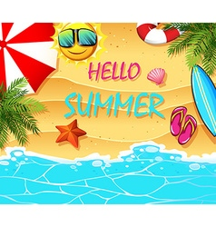 Summer theme with items on the beach vector image vector image