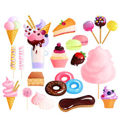 sweets desserts colorful icons set vector image