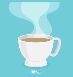 tea cup with smoke flat vector image vector image