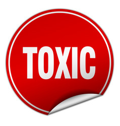 Toxic round red sticker isolated on white vector