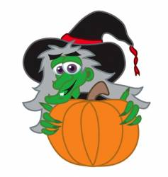 witch behind Jack-o-lantern vector image vector image