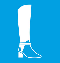 Women high boots icon white vector