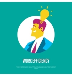 Work efficiency banner Side view of businessman vector image