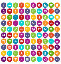 100 fit body icons set color vector